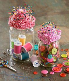 Pin-Cushion Jar Topper Free Crochet Pattern from Aunt Lydia's Crochet Thread