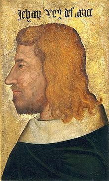 Jean II (1319 - 1364). King of France from 1350 to 1364. He married Bonne of Bohemia, and had nine children. Then he married Joanna I of Auvergne and had three children who all died young.