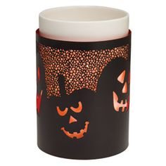 All Hallows  Full-Size Scentsy Warmer Wrap (Warmer not included) - Menacing, mirthful jack-o-lanterns in an eerie pumpkin patch shine through in All Hallows.