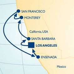 8 Night Coastal California Voyage - Itinerary Map itinerari map, countri cruis, luxuri cruis
