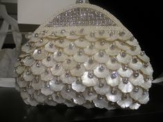 Gorgeous cream & rhinestone clutch