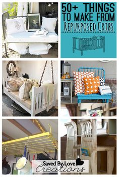 50+ Ways to Repurpose cribs and crib springs @savedbyloves #upcycledfurniture