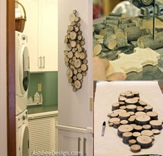 """Tree stump wall art-would make a great table """"runner"""" too - tuck in bits of foliage, berries, add candles to it, etc for any event/holiday"""