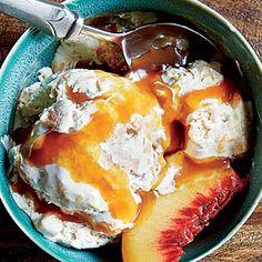 Peach Cobbler Ice Cream with Bourbon-Caramel Sauce Recipe | MyRecipes.com