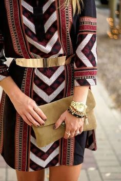 Chevron inspired dress with metal belt