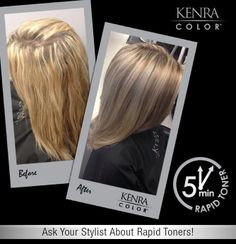 Stylists, use Kenra Color® Rapid Toners at the shampoo bowl for a quick way to tone your client's color in 5 minutes or less!  In this image, we used Kenra Color Rapid Toner SV mixed 1:2 with 9 vol. underneath, and equal parts SV and Clear 1:2 with 9 vol. on top. We applied to shampooed/conditioned/towel-dried hair, processed 5 minutes, then styled using Kenra Smooth™ Anti-Frizz Oil, Kenra Platinum® Thickening Spray 5 and Thickening Mousse 12. stylist, kenra color