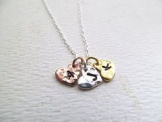 Mothers Necklace, Three Initials, Three Kids, Sterling Silver, Rose Gold, Gold, Sisters Necklaces, Sisters Gifts, Christmas Gifts for Mom
