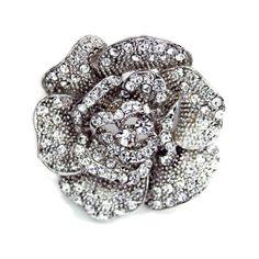 Swarovski Crystal Antique Flower Brooch - Bridal Jewellery - Crystal Bridal Accessories
