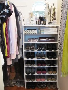 Closetmaid shoe shelves - 4 stacked and the top is used for a vanity #shoe #storage #closet #organization