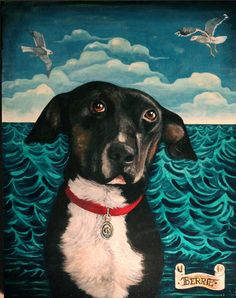 A whimsical, fantastical custom portrait of your pet, in a style that would be at home in a children's book!