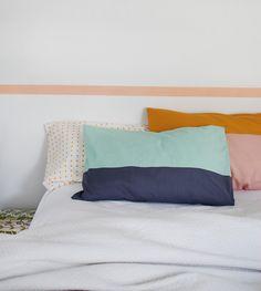 Great tutorial: Sew a colour-block pillowcase in less than an hour via Crafttuts+.