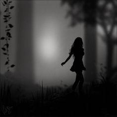 silhouett, lost, shadow, dark, thought, inspir, forest, quot, running away