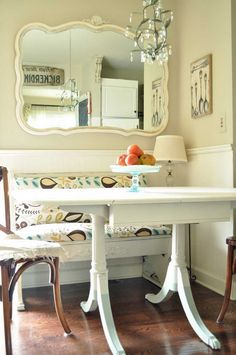 mirror, bench, breakfast nooks, painted tables, kitchen nook, dining nook, small spaces, dip dyed, table legs