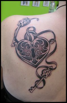 tattoos couples heart and key - Bing Images