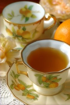 Orange Spice Tea in matching china for the tea!