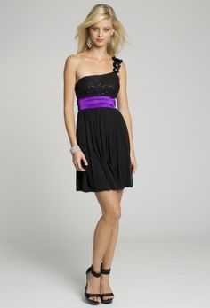 Homecoming and Prom Dresses - Flower One Shoulder Black Purple Short Dress with Tie Back from Camille La Vie and Group USA
