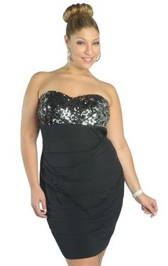 Curvy Girl Fashion two tone sequin paiette dress