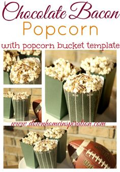 Chocolate Bacon Popcorn (with a popcorn bucket template) - Down Home Inspiration