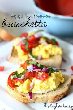 Scrambled Egg Bruschetta, loaded with mozzarella, tomatoes and eggs! @Chrissy The Taylor House #BreakfastinBed #recipe #breakfast #recipes #food