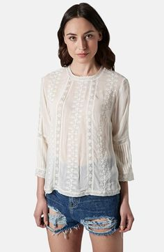 Topshop Embroidered Blouse available at #Nordstrom