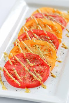 Perfect for your summer harvest! Marinated Heirloom Tomatoes with Mustard and Dill