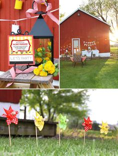 I love the barn! picnic parti, birthday parties, pinwheels, barn parties, picnics, 1st birthday, outdoor parties, watermelon, picnic parad