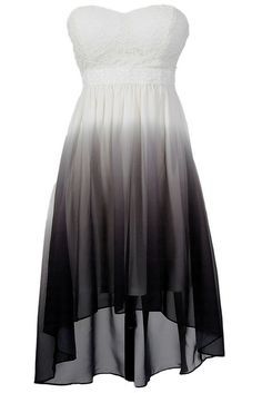 Grey and White Ombre High Low Dress - Adorable strapless sweetheart dress, dip dyed and super cute!!! #black #grey #gray #white #fashion #summer #event #dance #party #sexy