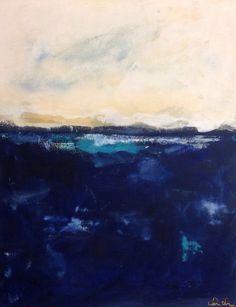 Blue Indigo Coastal Abstract Painting Original Art by lindadonohue, $375.00