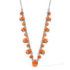 Liquidation Channel | Jalisco Fire Opal and White Topaz Necklace in Platinum Overlay Sterling Silver (Nickel Free)
