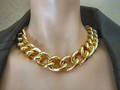 "PROMO PRICE...19"" Gold Chunky Smooth Curb Chain Statement Over Sized Necklace with Lobster Claw Clasp    by CharmingChain, $16.00"