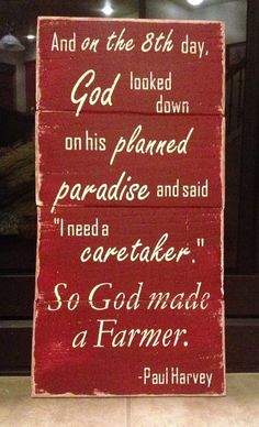 So God Made A FarmerPaul HarveyBarn Red Wood by UnchainedBracelets, $43.00