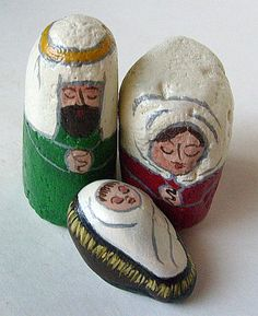 Nativity Set Painted on Rocks