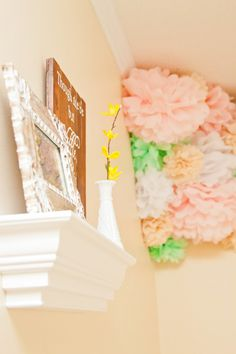 Tissue pompoms in the corner - #projectnursery