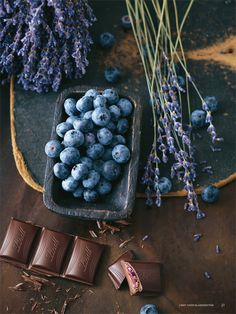 blueberries and lavender chocolate. yum!
