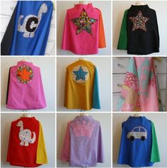 """Kids Cape Tutorial 16 easy sewing projects for beginners - pillow case, kitchen towel, cute kid tool """"belt,"""" hand warmers pillowcase dress"""