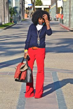 Folake Huntoon of StylePantry. She's geeenius. outfits, badass style, pantries, blazers, casual fridays, color pants, style pantri, bright colors, red pants