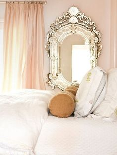mirror mirror, pink white gold bedroom, pale pink, white and gold bedroom ideas, venetian mirrors, blush pink, white bedding, blush room, girl rooms