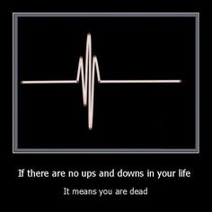 If there are no ups and downs in your life it means you are dead.