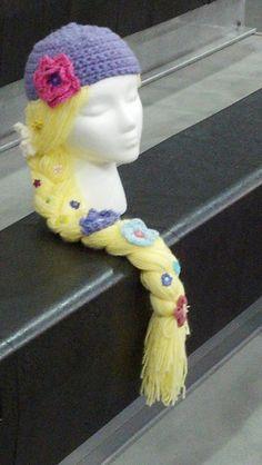 Crochet Tangled hat with hair and flowers. $28.00, Sooooooooo cute