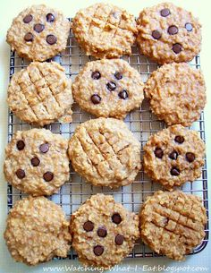 PB oat breakfast cookies. High protein, no flour or processed sugar. (Ingredients: bananas, peanut butter, applesauce, vanilla, quick oatmeal, nuts, optional chocolate chips).