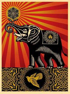 Obey Elephant Art Print by Shepard Fairey