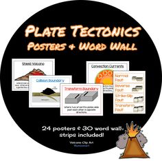 Plate Tectonics Posters and Word Wall - covers volcanoes, plate boundaries, earthquake faults and more! 29 posters and 30 word wall strips! ($)