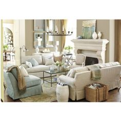 Beachy color scheme for family room off kitchen. Use white couch and throw pillow. Allure Hand Knotted Rug: now available at ballarddesigns.com