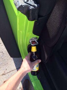 Bottle opener. Jeeps serve many purposes