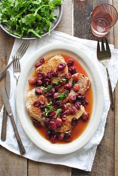 Seared Pork with Roasted Grapes. #food #pork #meat #dinner