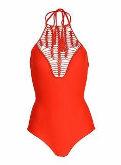 Stunning crochet front bathing suit