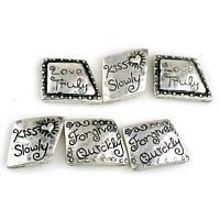 6 inspirational 2 hole slider beads 9538