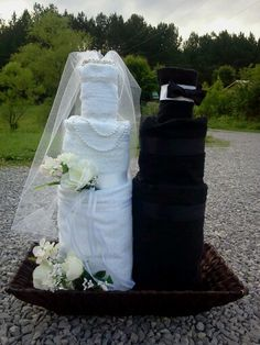 diaper cake, diapertowel cake, craft, towel cakes, groom towel, brides, cake gift, bridal shower, shower idea