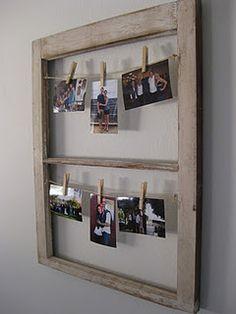 DIY  Repurposed Window + Hanging Pictures