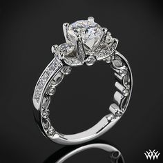 #Whiteflash #Verragio This beautiful 3 Stone Engagement Ring is from the Verragio Paradiso Collection. It features a Lumino Set for both the center and side diamonds and holds 1.00ctw of Round Brilliant Diamond Melee (F/G VS). The width tapers from 3.1mm at the top down to 2.2mm at the bottom.